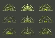 Set of Retro Sun burst shapes. Vintage logo, labels, badges. Vec. Tor design elements . Minimal gold firework burst Royalty Free Stock Photography