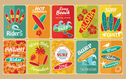 Set of retro surfing typographical posters for Royalty Free Stock Photography