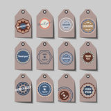 Set of retro tags: hand crafted, best choice etc. Royalty Free Stock Image