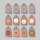 Set of retro tags: hand crafted, best choice, high quality etc. Stock Photo