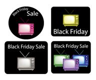 Set of Retro Television with Black Friday News Stock Photography