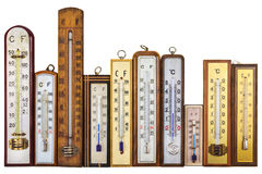 Set of retro thermometers isolated on white stock photography