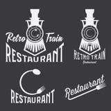 Set of retro train restaurant Stock Photo