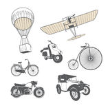 Set of Retro Transport. Vector Set of Retro Transport: hot-air balloon, csooter, bicycle, airplane royalty free illustration