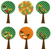 Set of retro trees Royalty Free Stock Images