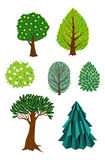 Set of  retro trees and bushes. Royalty Free Stock Images