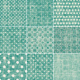 Set of retro turquoise and faded grey seamless pat Stock Photography