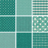 Set of retro turquoise and faded grey seamless pat Royalty Free Stock Image
