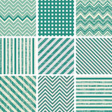 Set of retro turquoise and faded grey seamless pat Royalty Free Stock Photo