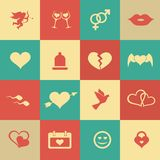 Set retro valentine's day icons, love on the Internet symbols Royalty Free Stock Photos