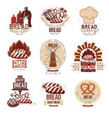 Set of retro vector bakery logos and bread. Bread, mill, oven and baking: labels, badges and design elements. Fresh baked goods, pastries and bakery vector illustration
