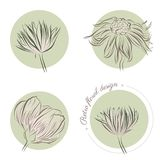 Set of retro vector flowers Royalty Free Stock Photography