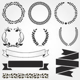 Set of retro vector graphic elements for design. Floral frame an Royalty Free Stock Image