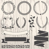Set of retro vector graphic elements for design on grunge wooden Royalty Free Stock Image
