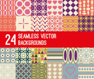 Set of 24 retro vector patterns Stock Images