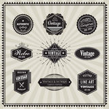 Set of retro vintage badge linear thin line art deco design elem Stock Photos