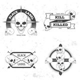 Set of retro vintage badge, symbol or logotype with skull. Stock Photography