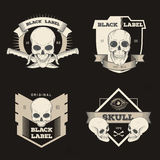 Set of retro vintage badge, symbol or logotype with skull. For design elements, business signs, logos, identity, labels, badges and objects Royalty Free Stock Image