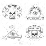 Set of retro vintage badge, symbol or logotype with skull. For design elements, business signs, logos, identity, labels, badges and objects Royalty Free Stock Photos
