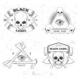 Set of retro vintage badge, symbol or logotype with skull. Royalty Free Stock Photos