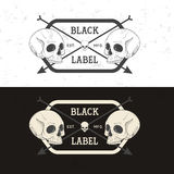 Set of retro vintage badge, symbol or logotype with skull. Royalty Free Stock Photo