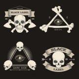 Set of retro vintage badge, symbol or logotype with skull. Stock Photo