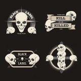 Set of retro vintage badge, symbol or logotype with skull. For design elements, business signs, logos, identity, labels, badges and objects Stock Photo