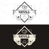 Set of retro vintage badge, symbol or logotype with skull. Stock Image