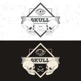 Set of retro vintage badge, symbol or logotype with skull. Stock Image