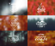 Set of retro vintage badges and card with blurred backgrounds. Trendy retro vintage badges and card with blurred backgrounds. Autumn colors, camping theme stock illustration
