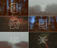 Set of retro vintage badges and card with blurred backgrounds Stock Photography