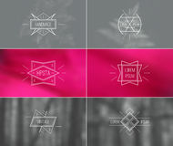Set of retro vintage badges and card with blurred backgrounds Stock Images