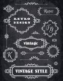 Set of Retro Vintage Badges, Frames, Labels and Borders. Chalk B Stock Photos