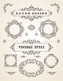 Set of Retro Vintage Badges, Frames, Labels and Borders. Stock Photos