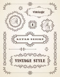 Set of Retro Vintage Badges, Frames, Labels and Borders. Royalty Free Stock Photos