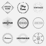 Set of retro vintage badges and label logo graphics. Design elements, business signs, labels, logos, circle design Stock Images
