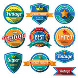 Set of retro vintage badges and labels. Flat design with long sh royalty free illustration