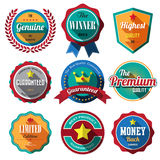 Set of retro vintage badges and labels. Flat design with long sh Stock Photos