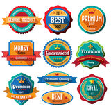 Set of retro vintage badges and labels. Flat design with long sh stock illustration
