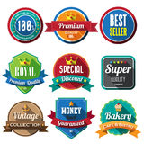 Set of retro vintage badges and labels. Flat design with long sh Stock Images