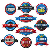 Set of retro vintage badges and labels with long shadow. Royalty Free Stock Images