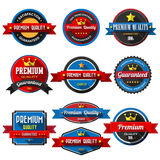 Set of retro vintage badges and labels with long shadow. Stock Photos