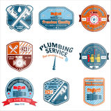 Set of retro vintage badges and labels. Plumbing and heating service.   Stock Photo