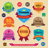 Set of retro vintage badges and labels. Set of retro  vintage sticker badges and labels.eps10 Stock Photography