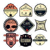 Set retro vintage badges, ribbons and labels hipster Stock Photos