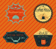 Set retro vintage badges, ribbons and labels hipster crumpled Royalty Free Stock Image