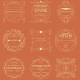 Set of retro vintage badges, ribbons and labels hipster. Set of retro vintage badges, ribbons and labels  hipster frame Stock Photos