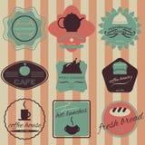 Set retro vintage badges, ribbons and labels hipster. Fresh bread, coffee shop, restaurant Set retro vintage badges, ribbons and labels hipster Stock Image