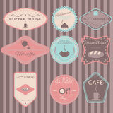 Set retro vintage badges, ribbons and labels hipster. Fresh bread, coffee shop, restaurant Set retro vintage badges, ribbons and labels hipster Royalty Free Stock Image