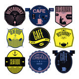 Set retro vintage badges, ribbons and labels hipster signboard Stock Image